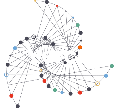 Vercity logo on a dark slate background with a swirl of coloured small dots