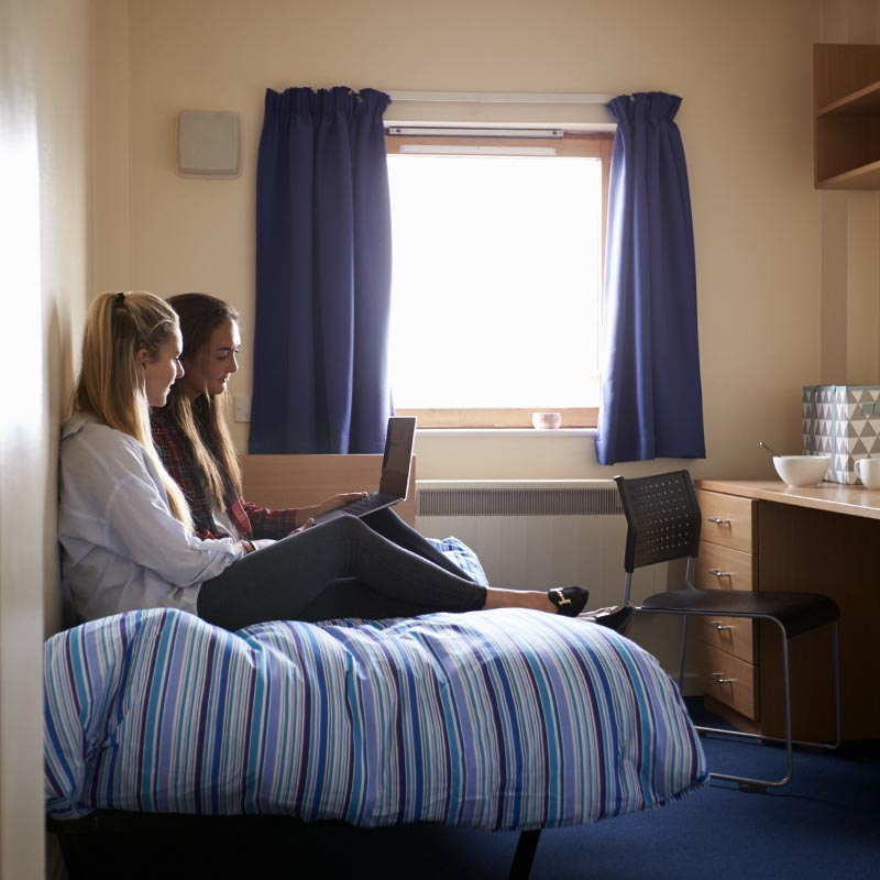 Image of two girls in student accommodation