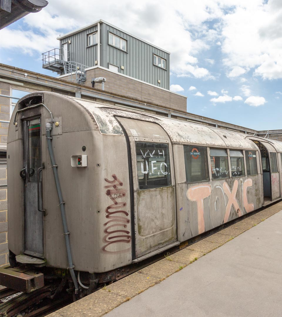 old train carriage covered in graffiti - Gravesend Metropolitan Police Tactical Training Centre Gravesend