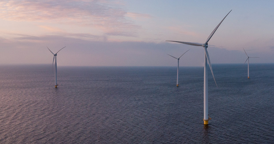 Image of a windfarm out at sea