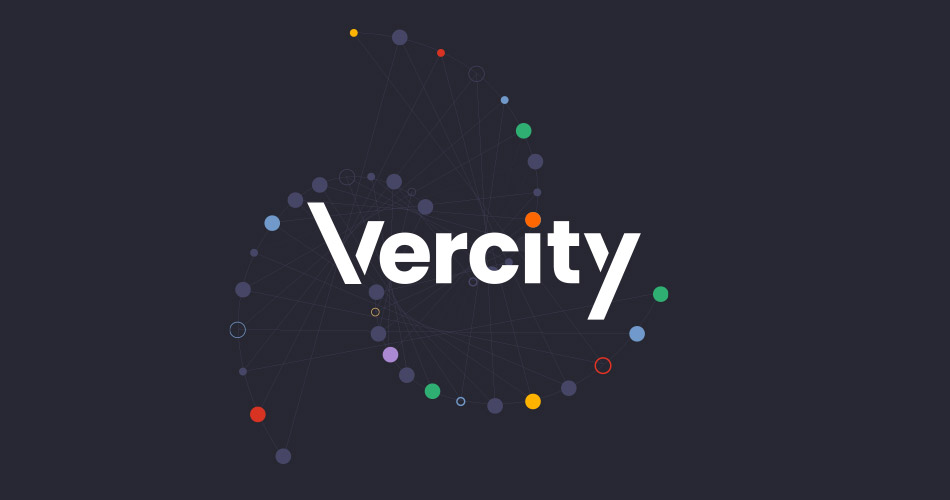 Vercity logo on a black background with a swirl of coloured small dots